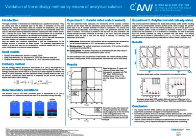 Validation of the enthalpy method by means of analytical